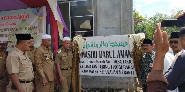 Wakil Bupati Kepulauan Meranti Resmikan Masjid Darul Aman Desa Tanjung